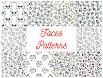 Human cartoon faces patterns. Human faces patterns. Vector pattern of cartoon emoticon faces with expressions. Cute emoji eyes smiling, happy, upset, surprised Stock Photography