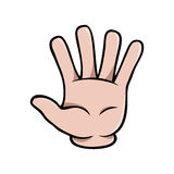 Human cartoon hand showing five fingers. Or a waving gesture royalty free illustration