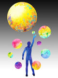 Human catch moon power, inspiration abstract thought, world, universe inside your mind. Watercolor painting Stock Photography