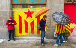 Human chain for the catalan independence Royalty Free Stock Photos
