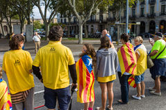 Human chain for the catalan independence Stock Photos
