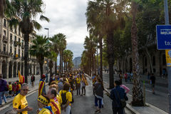 Human chain for the catalan independence Royalty Free Stock Photo