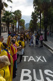 Human chain for the catalan independence Royalty Free Stock Images