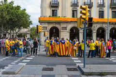 Human chain for the catalan independence Stock Image