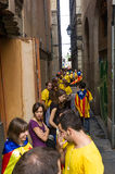 Human chain for the catalan independence Royalty Free Stock Photography