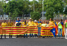 Human chain for the catalan independence Royalty Free Stock Image