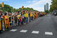 Human chain for the catalan independence Stock Photography