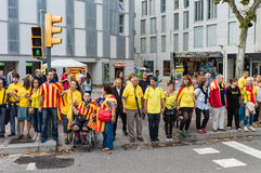 Human chain for the catalan independence Stock Photo