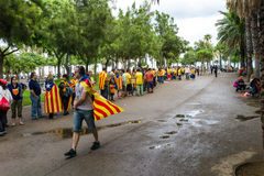 Human chain for the catalan independence Stock Images