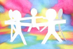 Human chain with colorful back Stock Photography