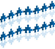 Human chain with jigsaw puzzle. Vector illustration as human chain with jigsaw puzzle bricks hand by hand and in row, useful as texture or business concept Stock Images