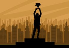 Free Human Champion Silhouette With Cup Against The Background Of Urb Royalty Free Stock Image - 124781806