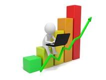 Human character and bar chart Royalty Free Stock Photo