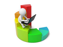Human character and bar chart. 3d man sitting with Laptop on colorful business graph Royalty Free Stock Images