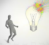 Human character is body suit looking at abstract colorful lig Stock Image