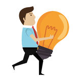 Human character with bulb icon. Illustration design Royalty Free Stock Image