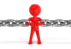 Human character and chain (clipping path included) Stock Photography