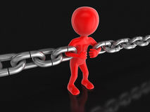 Human character and chain (clipping path included) Stock Photos