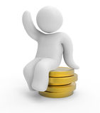 Human character and coins. 3d abstract people - human character and coins Stock Illustration