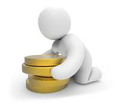Human character and  coins. Royalty Free Stock Photo