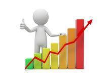 Human character and graph Stock Photos