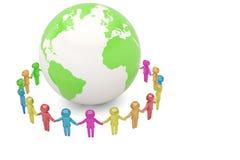 Human character holding hands around the globe world community c vector illustration