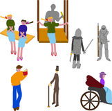 Human characters from the old town. Men and woman, girl on the swing and twins, lady in the crew, gentleman with cane and fighting knights Stock Image