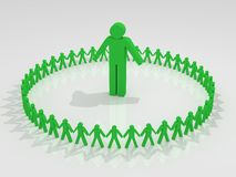 Human circle with leader inside Royalty Free Stock Image