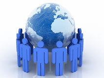 Human circle with world globe Royalty Free Stock Photos