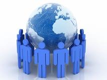 Human circle with world globe Royalty Free Stock Photos