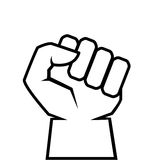 Human clenched fist outline icon. Revolt concept Royalty Free Stock Photography