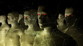 Human Clone Manufacturing. 3d rendering. Human Clone Manufacturing Royalty Free Stock Photo