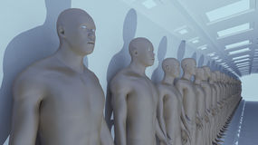 Human Clone Manufacturing. 3d rendering. Human Clone Manufacturing Royalty Free Stock Photos
