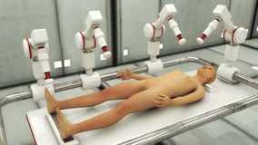 Human Clone Manufacturing. 3d rendering. Human Clone Manufacturing Royalty Free Stock Photography