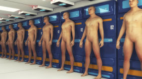 Human Clone Manufacturing and Futuristic Room Stock Image