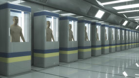 Human Clone Manufacturing and Futuristic Room Stock Photography
