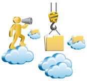Human and clouds. Human standing on a cloud and shouting in megaphone. Isometric human uploads the files to the cloud. Vector illustration Stock Photos