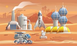 Human colonizators on Mars. Rover drives across the red planet near factory, greenhouse and spaceship stock photography