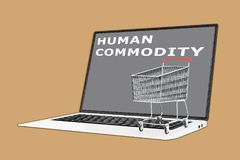 Human Commodity concept. 3D illustration of HUMAN COMMODITY script with a supermarket cart placed on the keyboard Stock Photo
