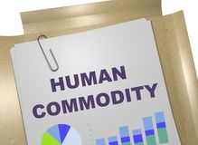 Human Commodity concept. 3D illustration of HUMAN COMMODITY title on business document Royalty Free Stock Photo
