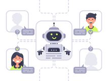 Human communicates with chatbot. Virtual assistant, support and online assistance conversation with chat bot vector. Human communicates with chatbot. Virtual vector illustration