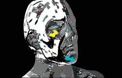 Human computerized digital face. Stock Photos