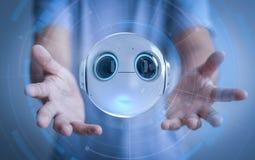 Human control robot. 3d rendering mini robot in human hand