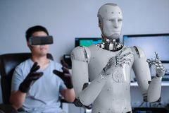 Human control robot. Human wearing vr headset and control 3d rendering robot Royalty Free Stock Photo