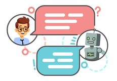 Human conversation with robot on smartphone. Chatting with bot, chatbot vector concept. Robot chat and smart, chatting on mobile phone illustration vector illustration