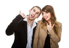 Human couple expression horns gesture Royalty Free Stock Photos