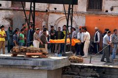 Human cremation ceremony in Pashupatinath, Nepal Stock Photos