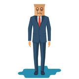 Human is crying. Businessman in suit. With tie with cardboard box on head. Standing in puddle of tears. Sad smile on face. Vector illustration flat design.  on Royalty Free Stock Photo
