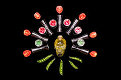 Human crystal head skull bottle bar tools painting on black background Stock Images