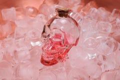 Human crystal head skull pink bottle on ice Stock Photos
